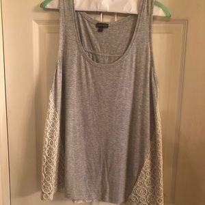 Lilla P Gray tank w/lace in excellent condition